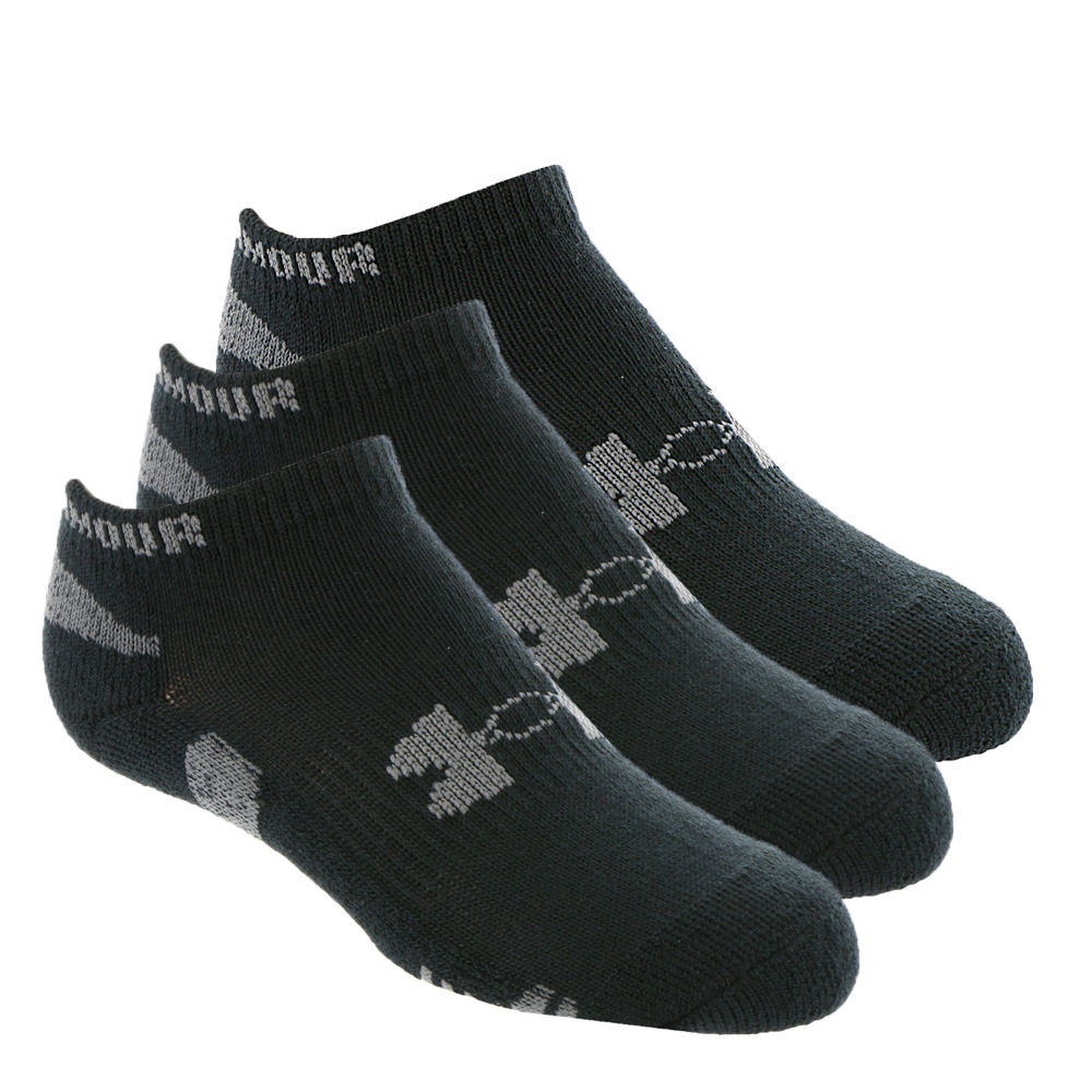 Under Armour Boys' 3-Pack Heatgear No Show Socks Black Socks M 821628BLKMED