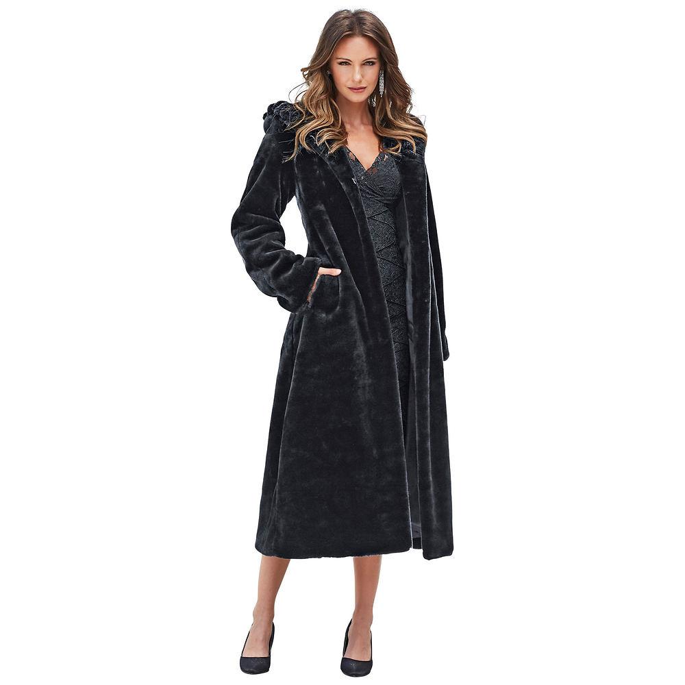 Faux Fur Hooded Full-Length Coat Black Coats XL