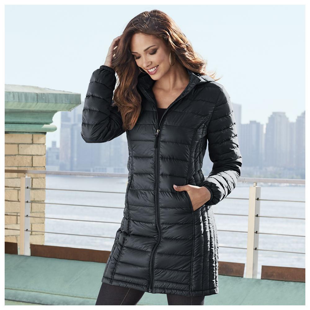 Masseys Long Packable Down Coat Black Coats XL
