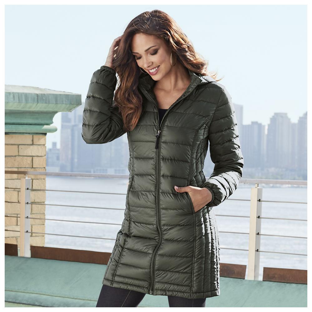 Masseys Long Packable Down Coat Green Coats L