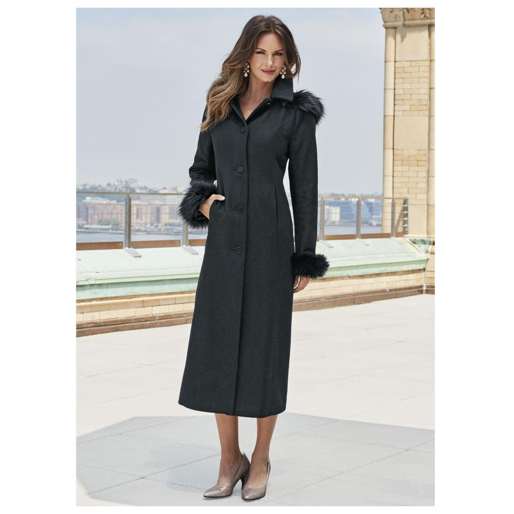Full-Length Hooded Wool Coat Black Coats L