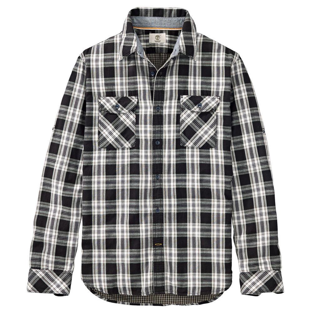 Timberland Men's Long Sleeve Double Layered Plaid Grey Shirts M 710876GRYM