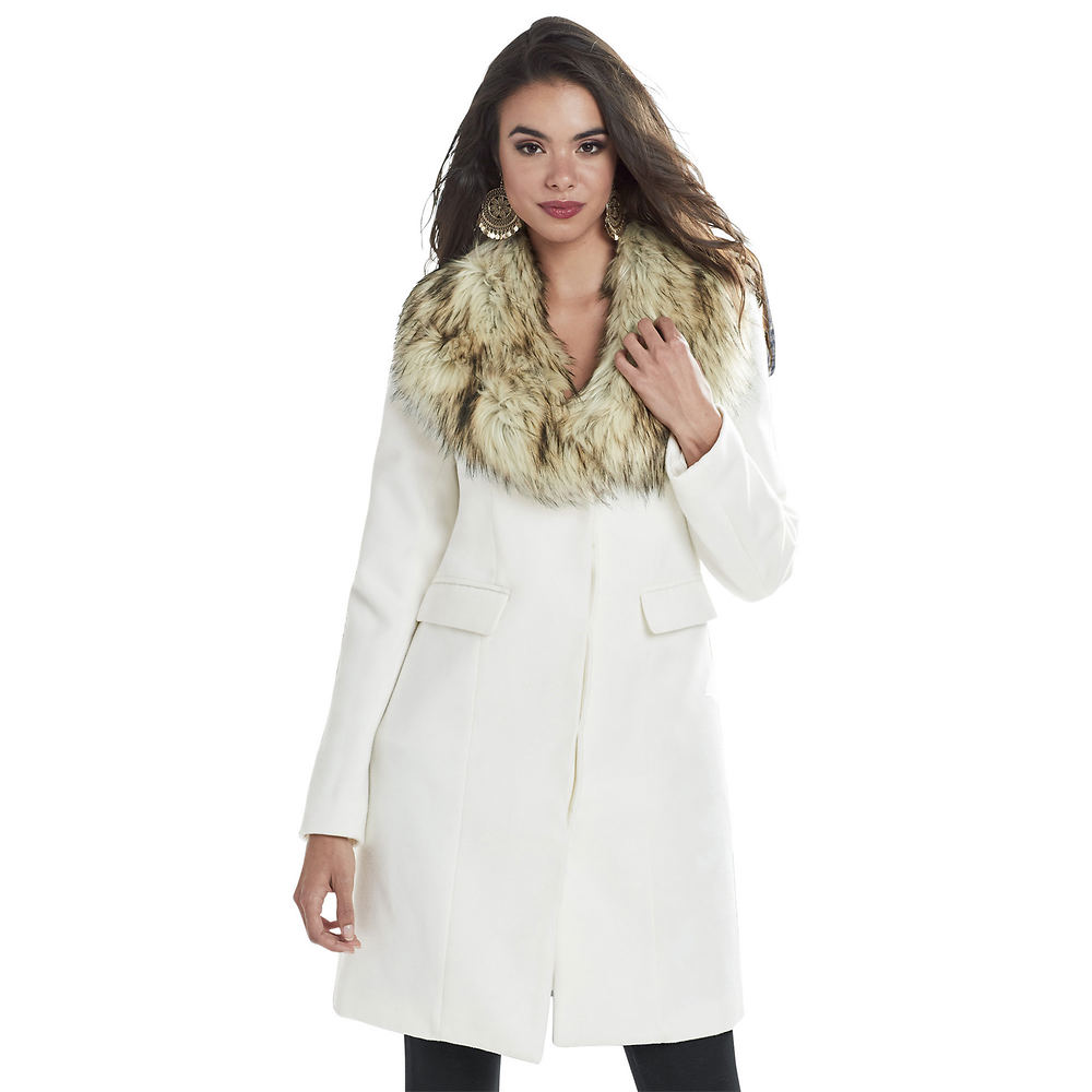Fur Collar Car Coat White Coats S