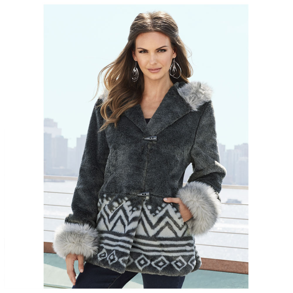 Ethnic Faux Fur Jacket 710928GRYM