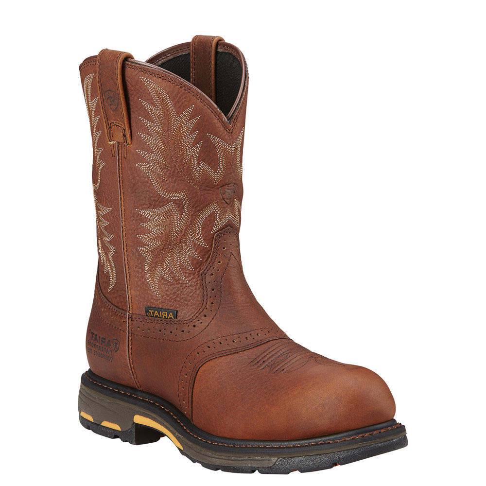 Ariat Workhog Pull On CT WP Men's Bronze Boot 12 E2