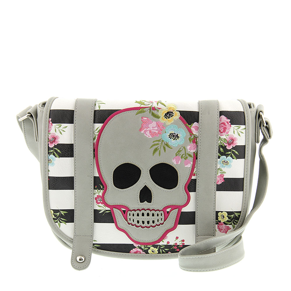 Loungefly Skull and Stripes Crossbody Bag Grey Bags No Size