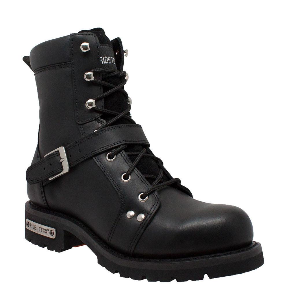 """Ride Tecs 8"""" Zipper Lace Men's Black Boot 11 W"""
