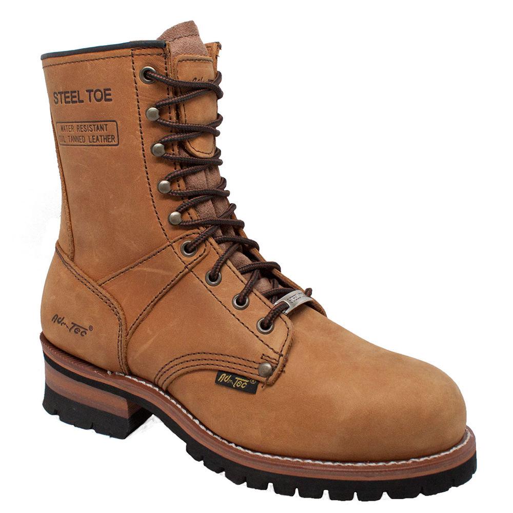 "Adtec 9"" Steel Toe Logger Men's Brown Boot 7.5 M"