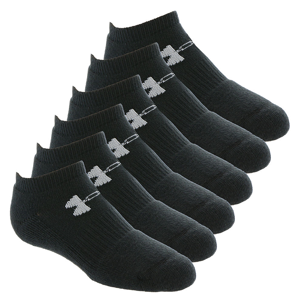 Under Armour Kids 6-Pack Charged Cotton 2.0 No Show Socks Black Socks L 822515BLKLRG