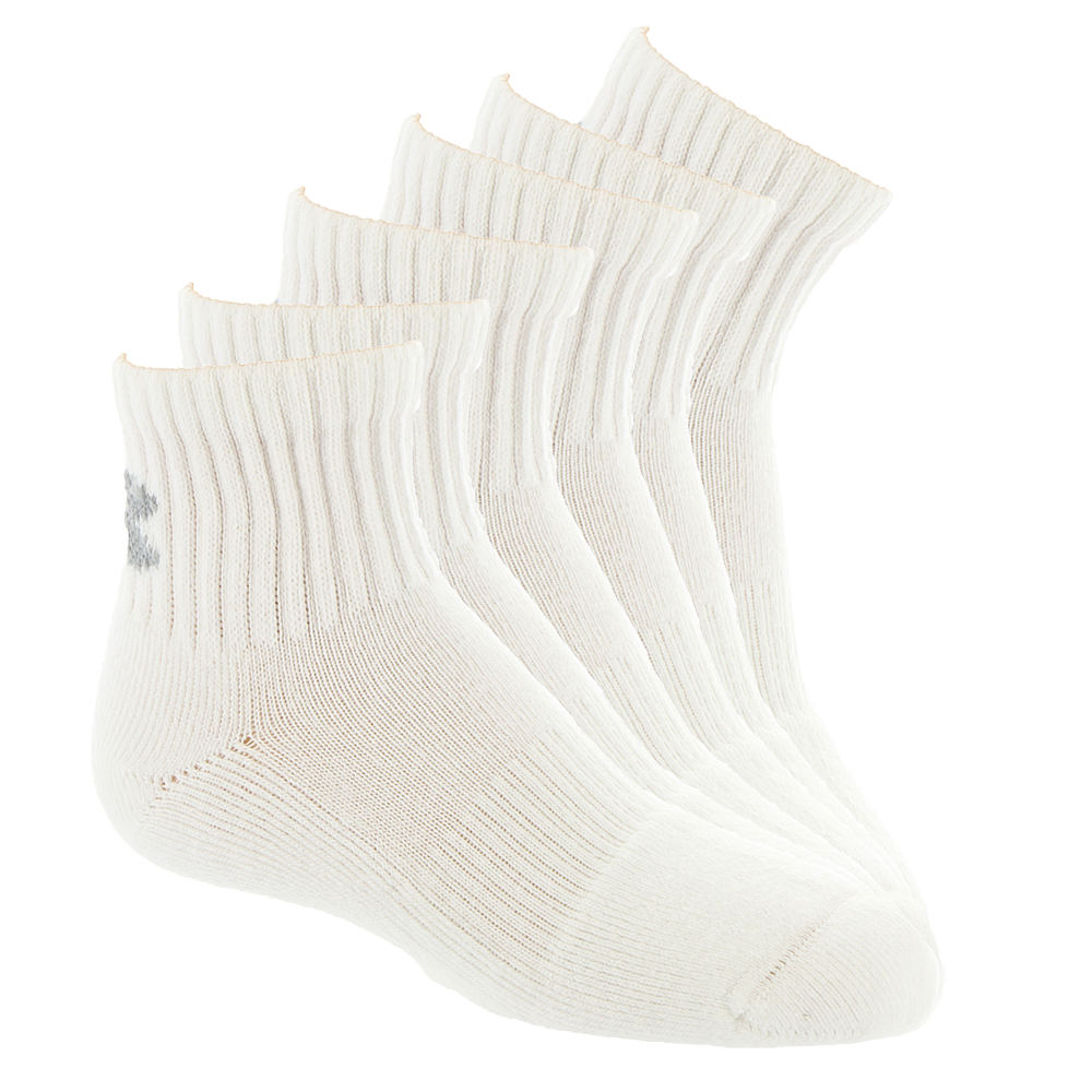 Under Armour Kids 6-Pack Charged Cotton 2.0 Quarter Socks White Socks L 822518WHTLRG