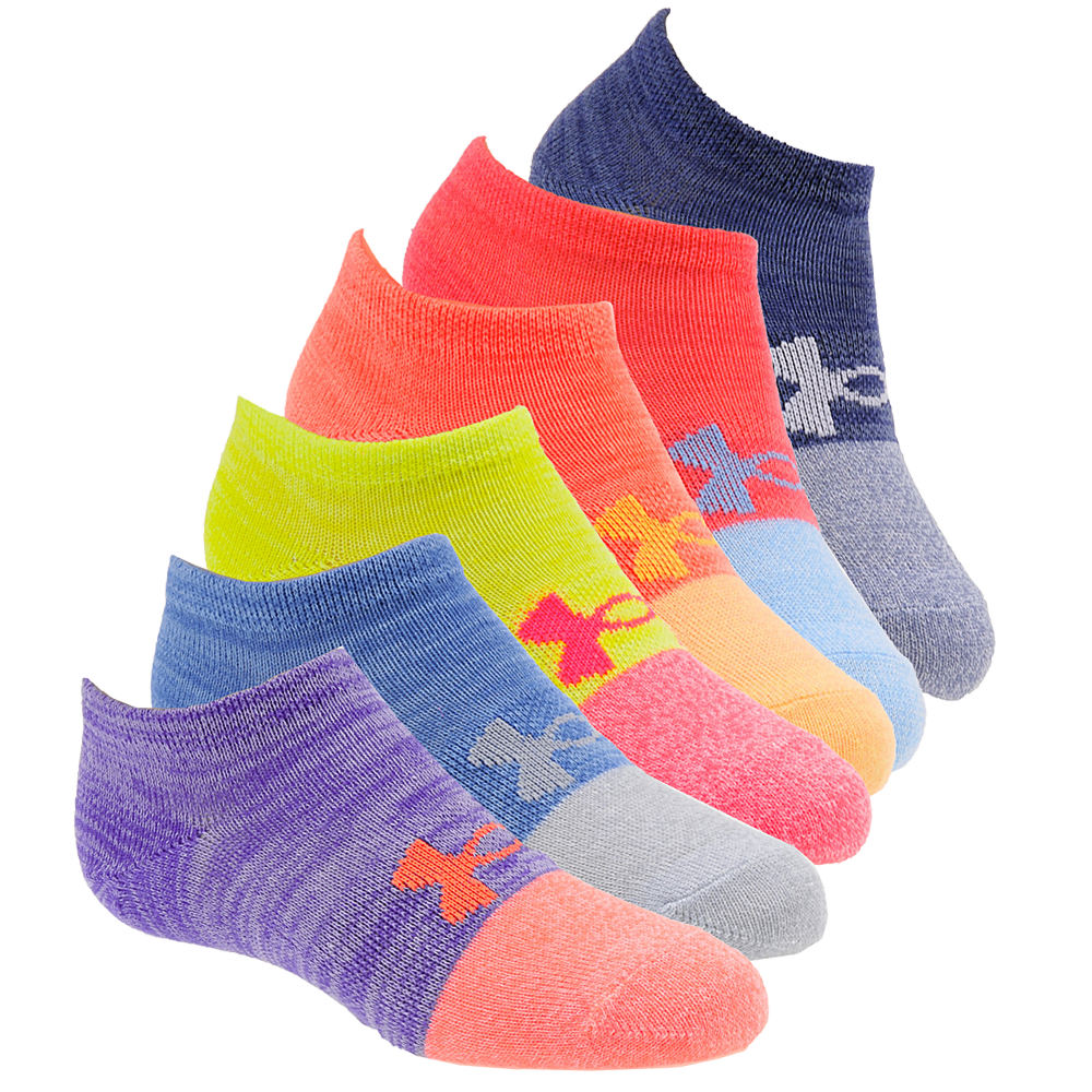 Under Armour Girls' 6-Pack Essential Twist No Show Socks Yellow Multi Socks M 822519LMNMED