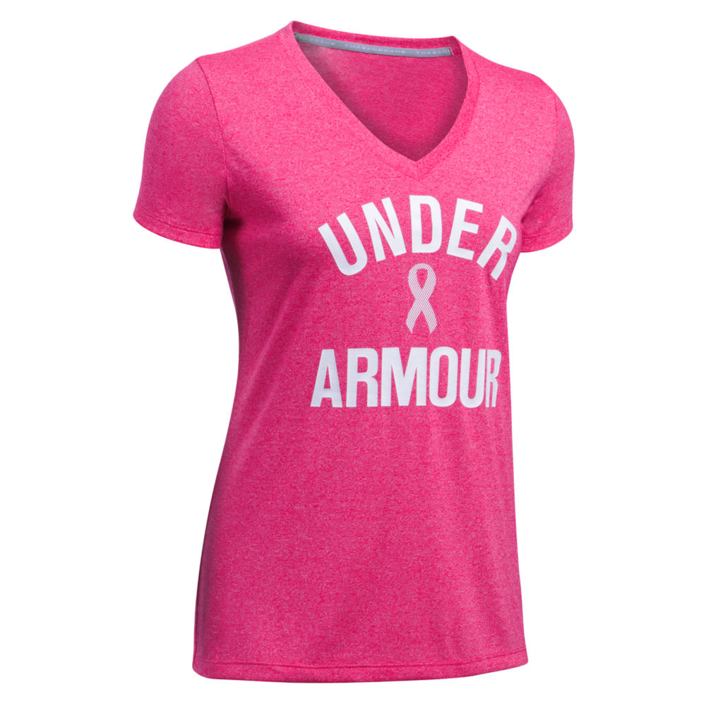 Under Armour PIP WordMark Tech V-Neck Twist Pink Knit Tops M 711230PNKM