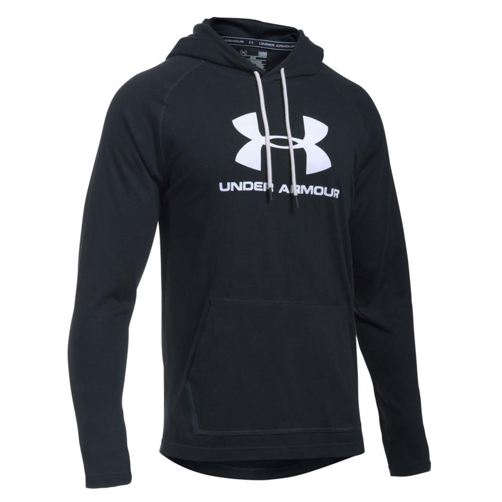 Under Armour Men's Sportstyle Jersey Hoodie Black Knit Tops L 711245BLWL