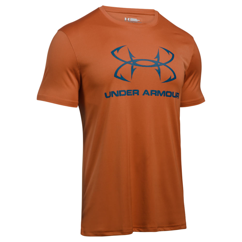 Under Armour Men's Fish Sportstyle Tech Tee Orange Knit Tops XXL 711242ORG2XL