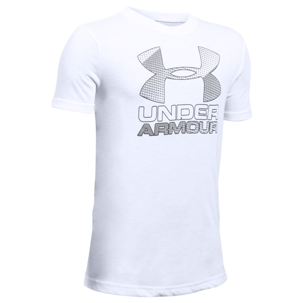 Under Armour Boys' Big Logo Hybrid 2.0 SS Tee White Knit Tops L 822700WHTL