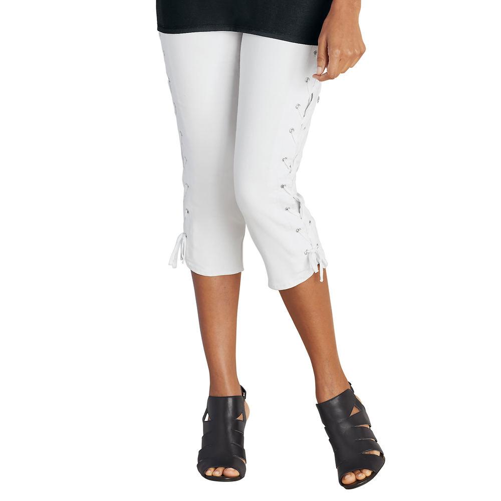 Lace-Up Capri White Pants 12-Regular 711368WHT12
