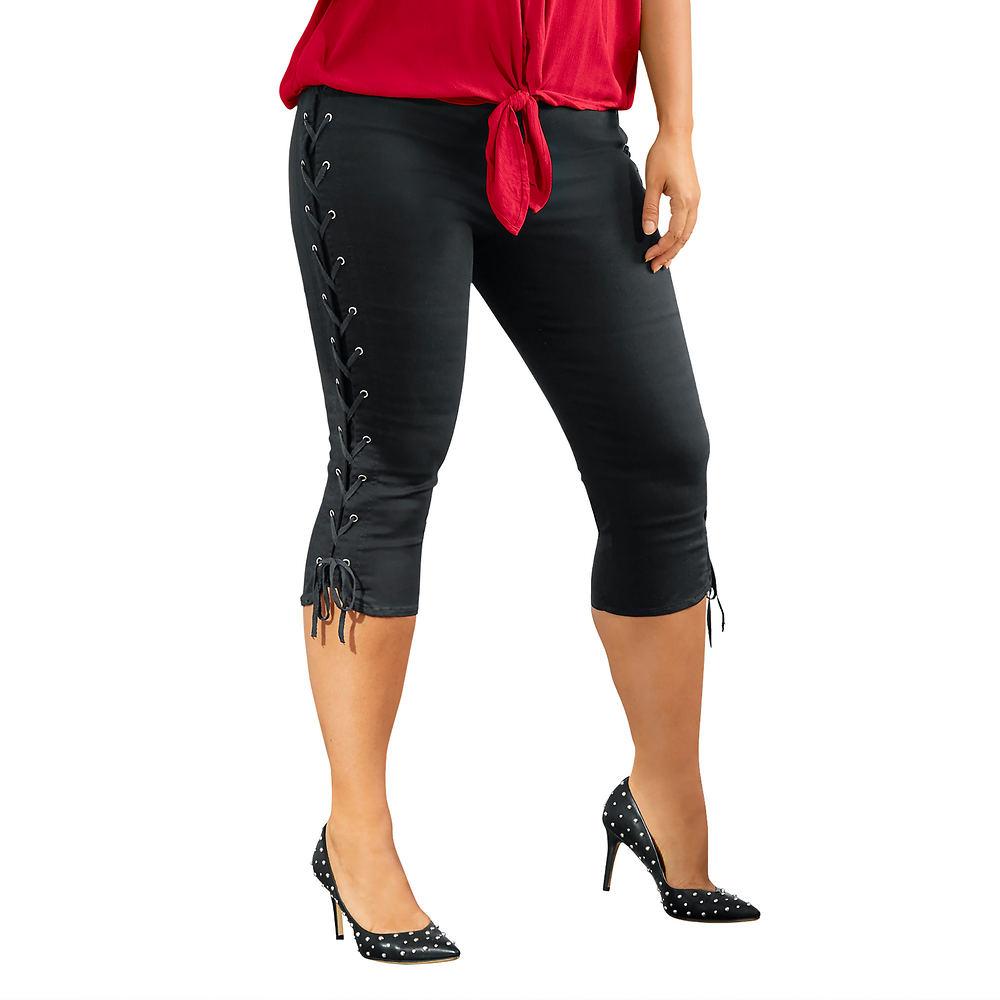 Lace-Up Capri Black Pants 4-Regular 711368BLK04
