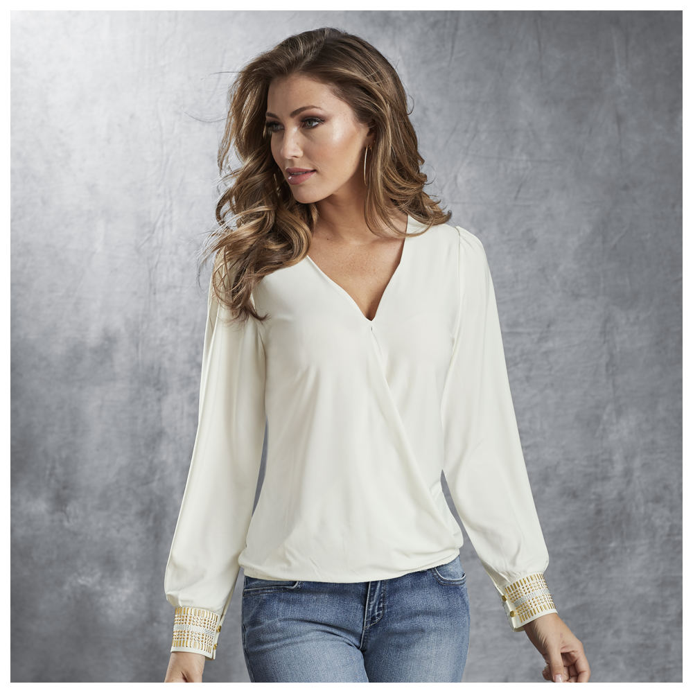 Glitz-n-Glam Crossover Top White Knit Tops 5X