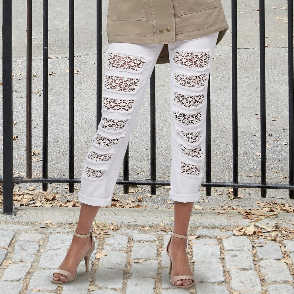 Crochet Patch Boyfriend Jean White Pants 16-Regular