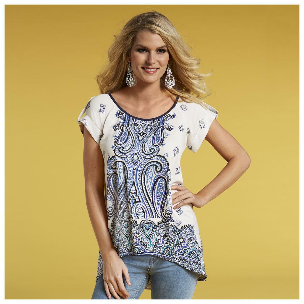 Paisley Tunic White Shirts M 711938WHTM