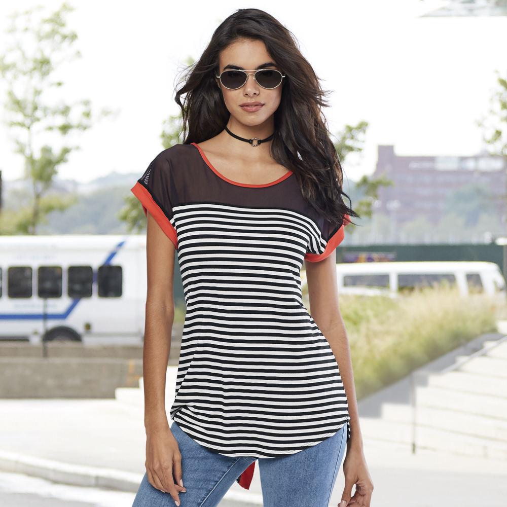 Mixed-Media Stripe Tee Black Knit Tops S 711964BLKS