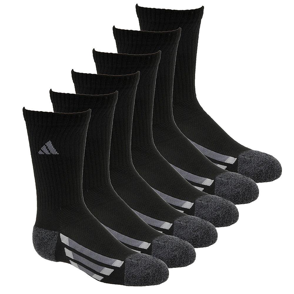 adidas Vertical Stripe 6-Pack Crew Socks Boys' Black Socks L 823365BLKLRG