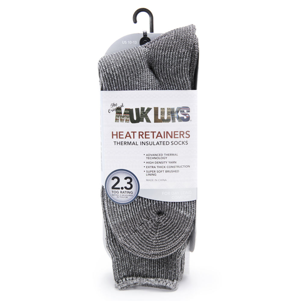 MUK LUKS Men's Heat Retainer Thermal Socks Grey Socks One Size 648666GRC