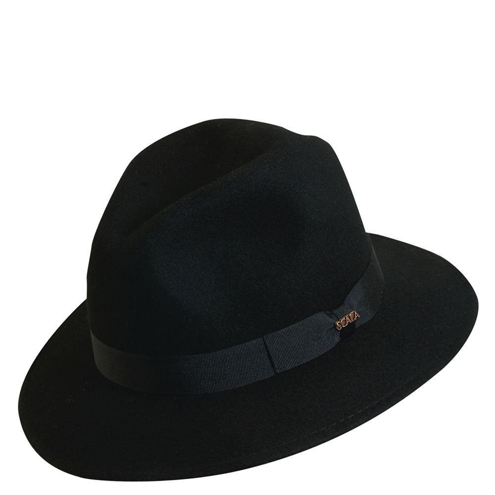 Scala Classico Men's Crushable Grosgrain Safari Black Hats L