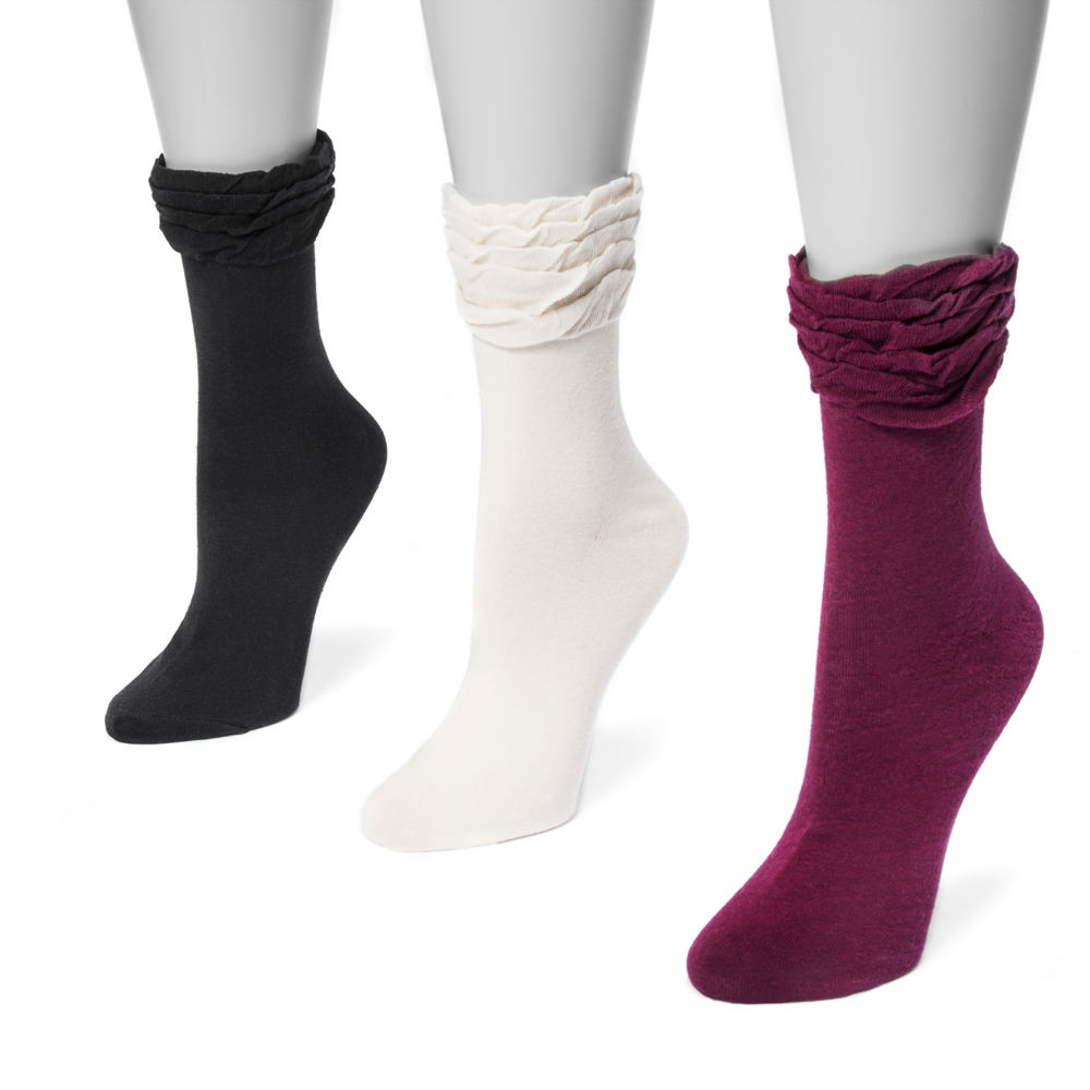 3 Pair Ruffle Crew Socks Black Socks One Size 554468BLK