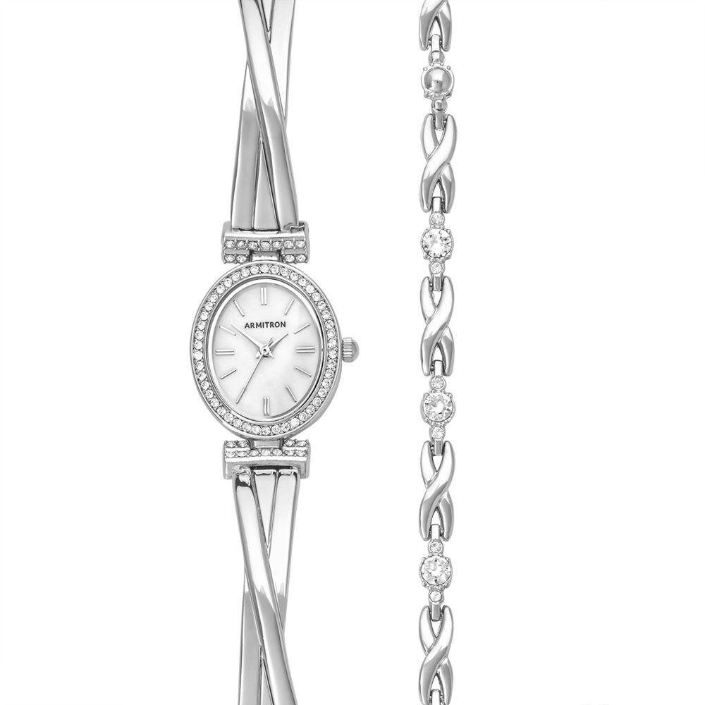 Armitron Swarovski Crystal Watch/Bracelet Set Silver Watc...