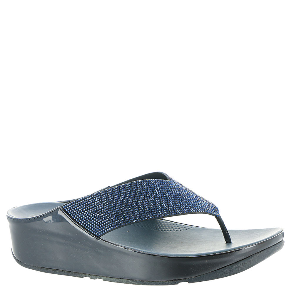 FitFlop Crystal Toe Post Women's Navy Sandal 8 M