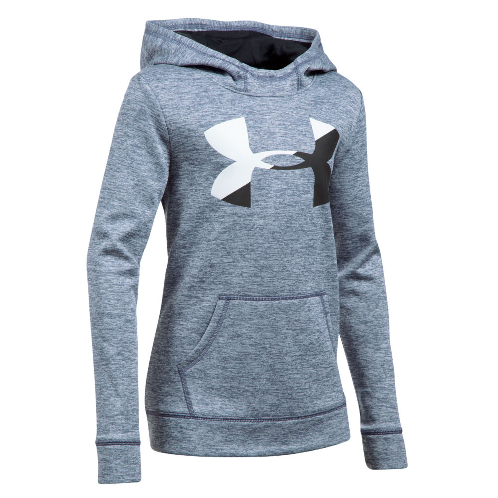 Under Armour Girls' Novelty Armour Fleece Big Logo Hoodie Grey Knit Tops S 823962HGRS