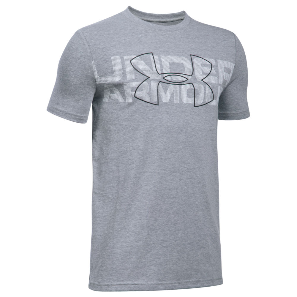 Under Armour Boys' Duo Armour SS Tee Grey Knit Tops S 823959SLHS