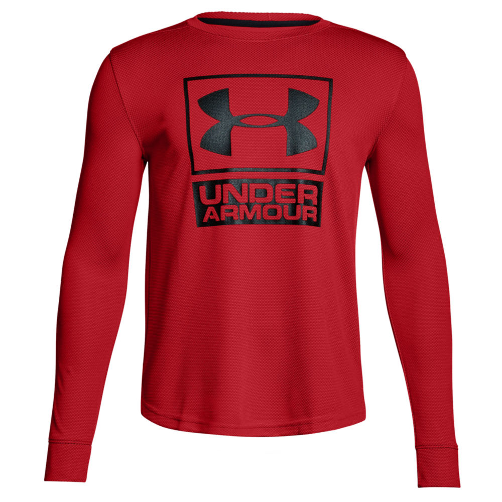 Under Armour Boys' Textured Tech Crew Red Knit Tops S 823964REDS