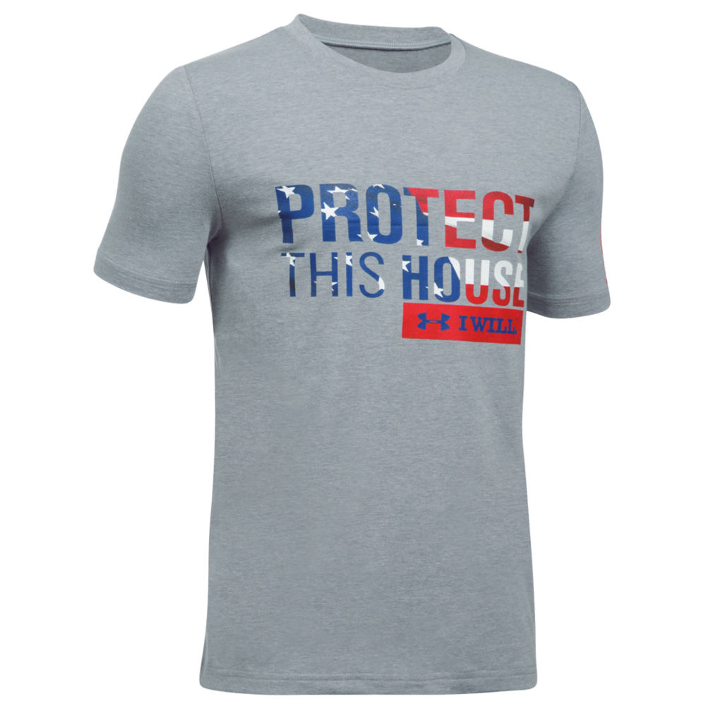 Under Armour Men's Freedom Protect This House Short Sleeve Tee Grey Knit Tops S 712364SLHS