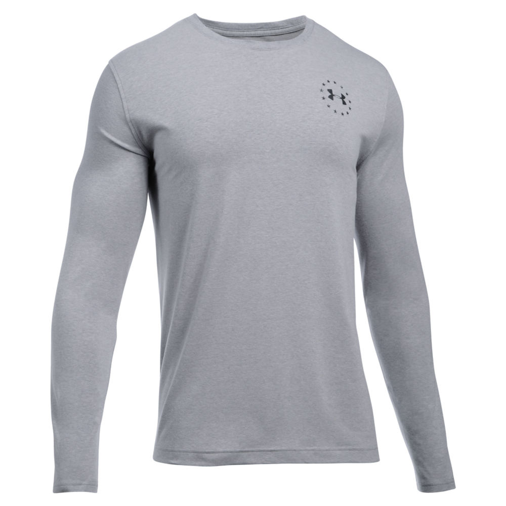 Under Armour Men's Freedom Flag LS Tee Grey Knit Tops XL 712356HGRXL