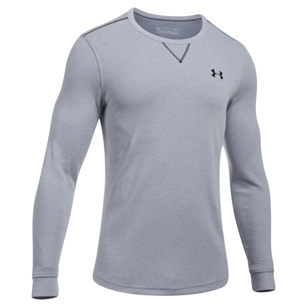 Under Armour Men's Lightweight Waffle Crew Grey Knit Tops M 712372HGRM