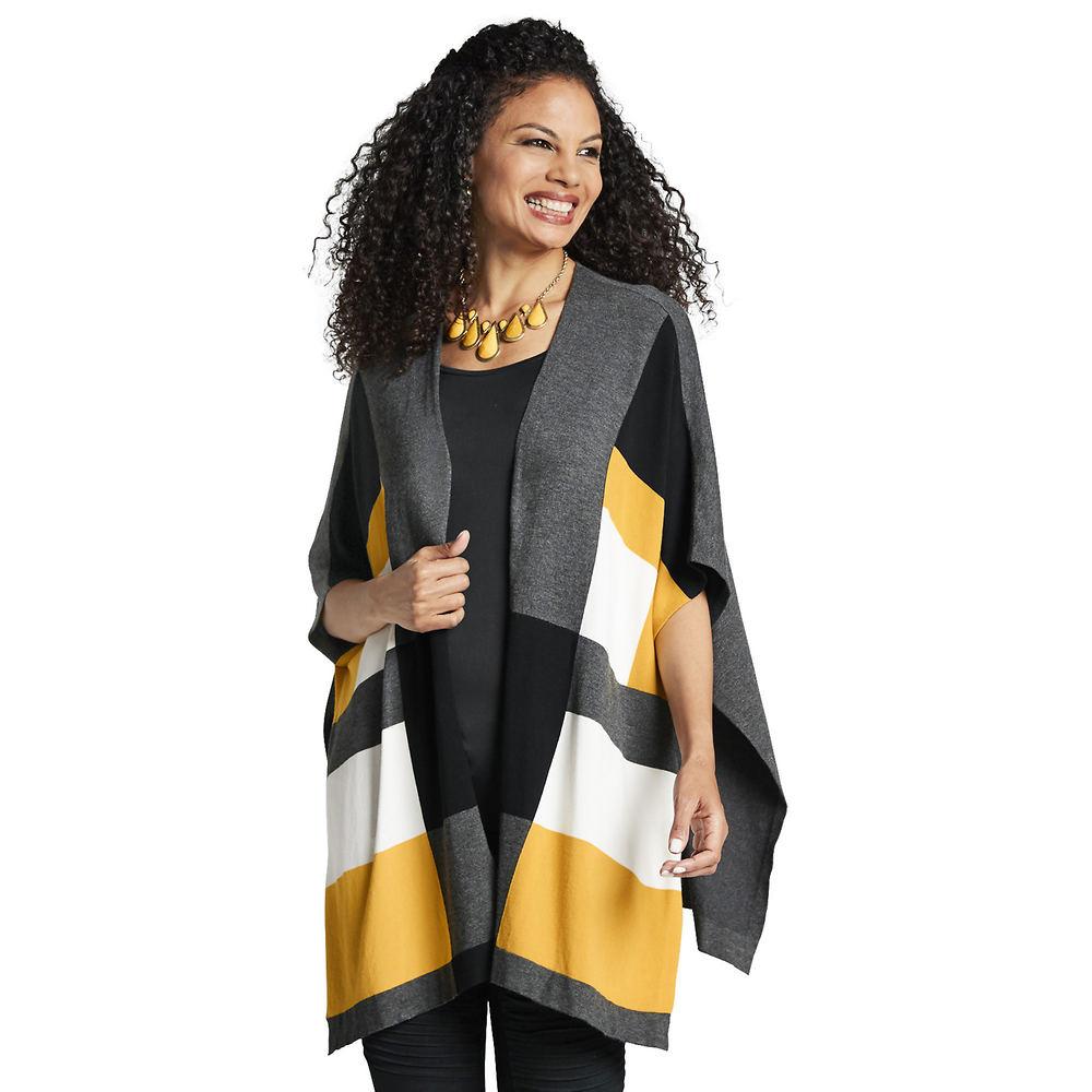 Masseys Color-Block Striped Cape Sweater Black Sweaters S/M