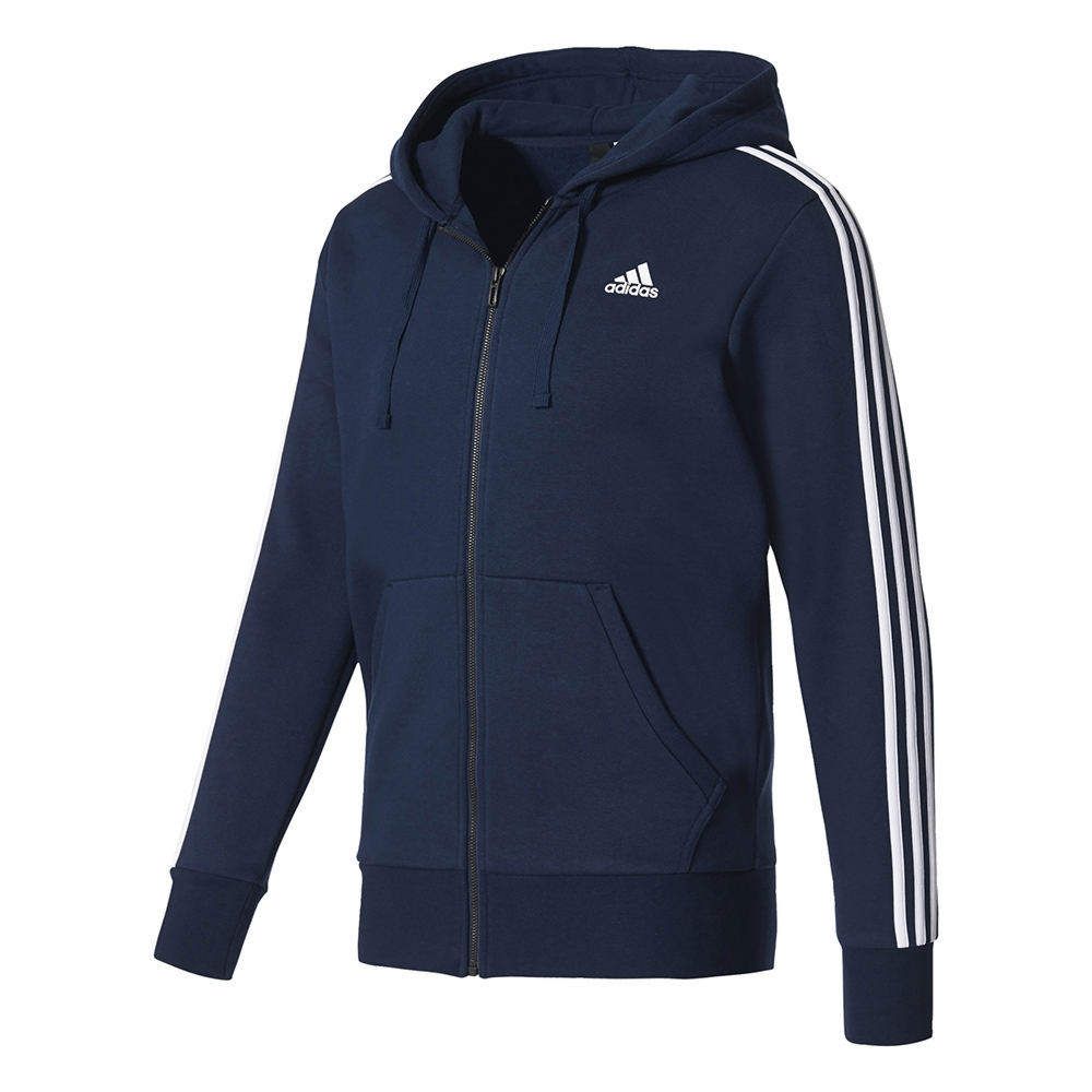 adidas Men's Essentials 3S Full-Zip Brushed Fleece Hoodie Navy Knit Tops M 712446CGNM