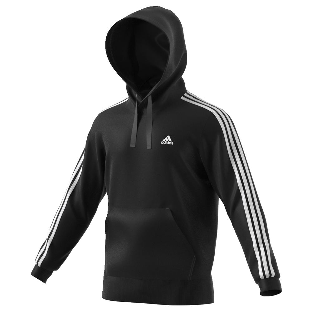 adidas Men's Essentials 3S Pullover Brushed Fleece Hoodie Black Knit Tops M 712448BLKM