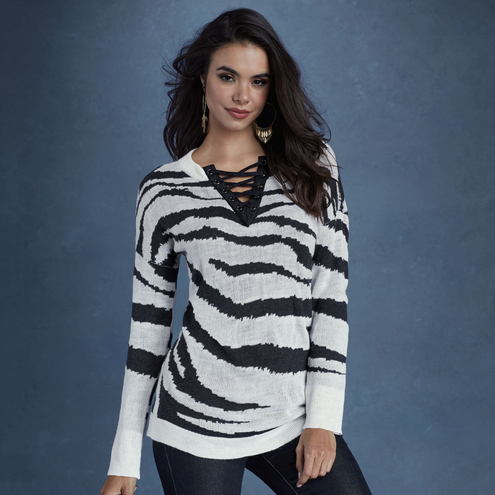 Zebra Lace-Up Sweater White Sweaters M 712508WHTM
