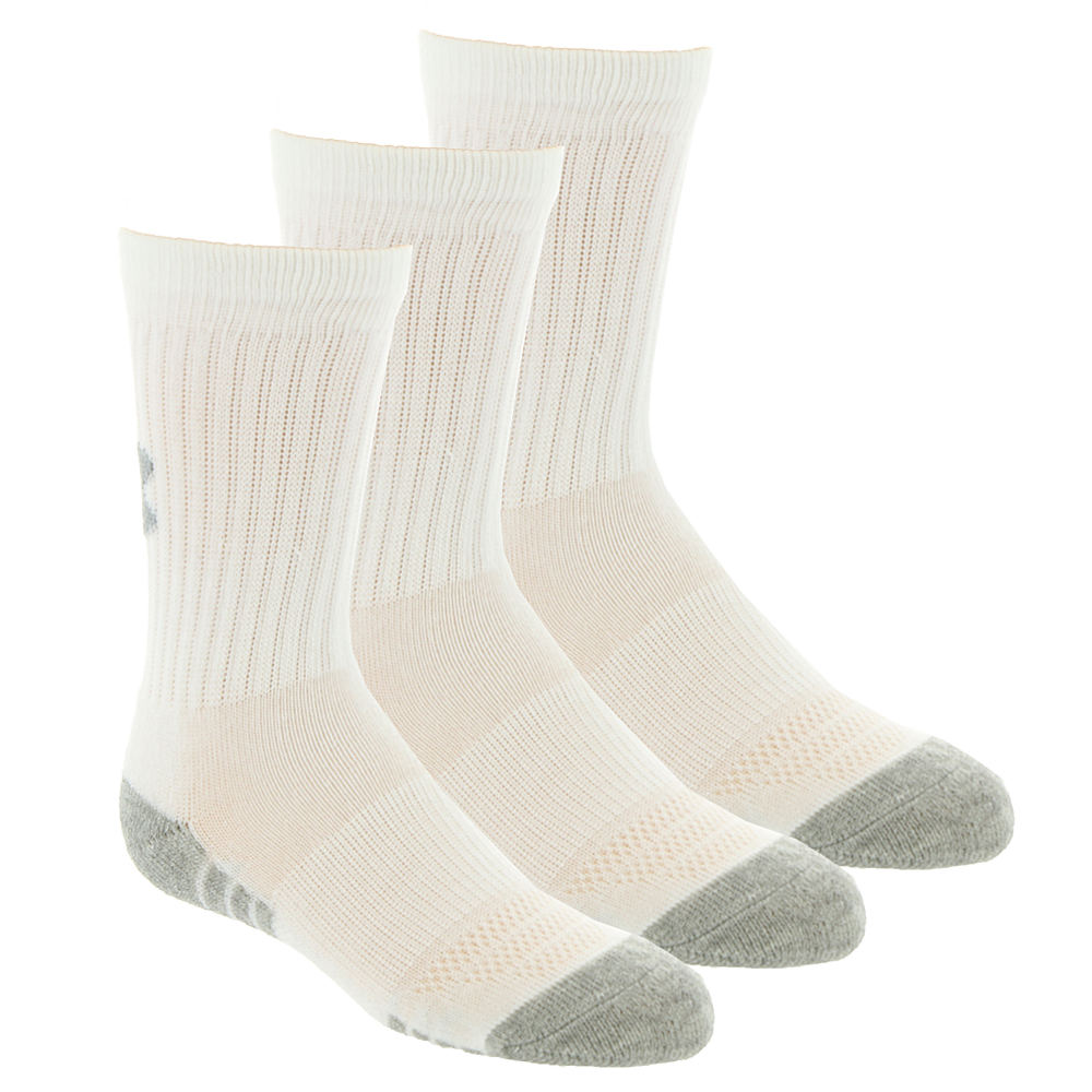 Under Armour Boys' 3-Pack Heatgear Tech Crew Socks White Socks L 824375WHTLRG
