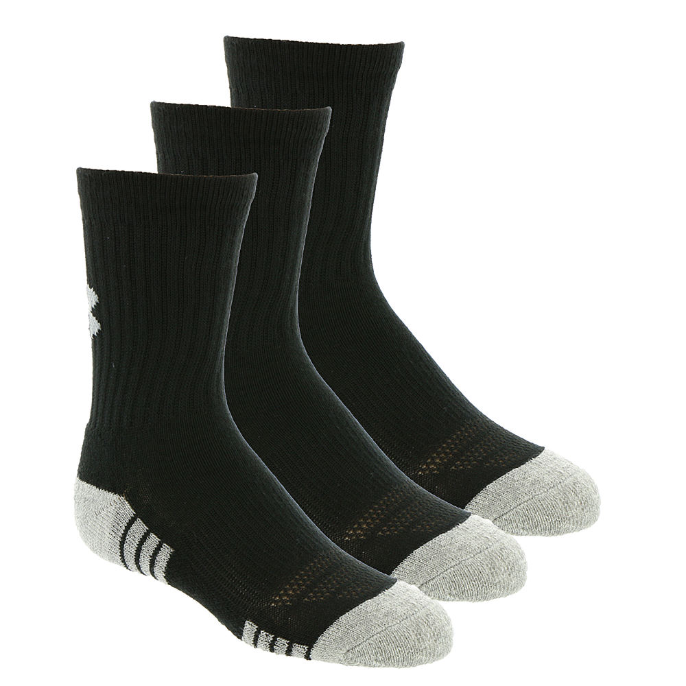 Under Armour Boys' 3-Pack Heatgear Tech Crew Socks Black Socks M 824374BLKMED