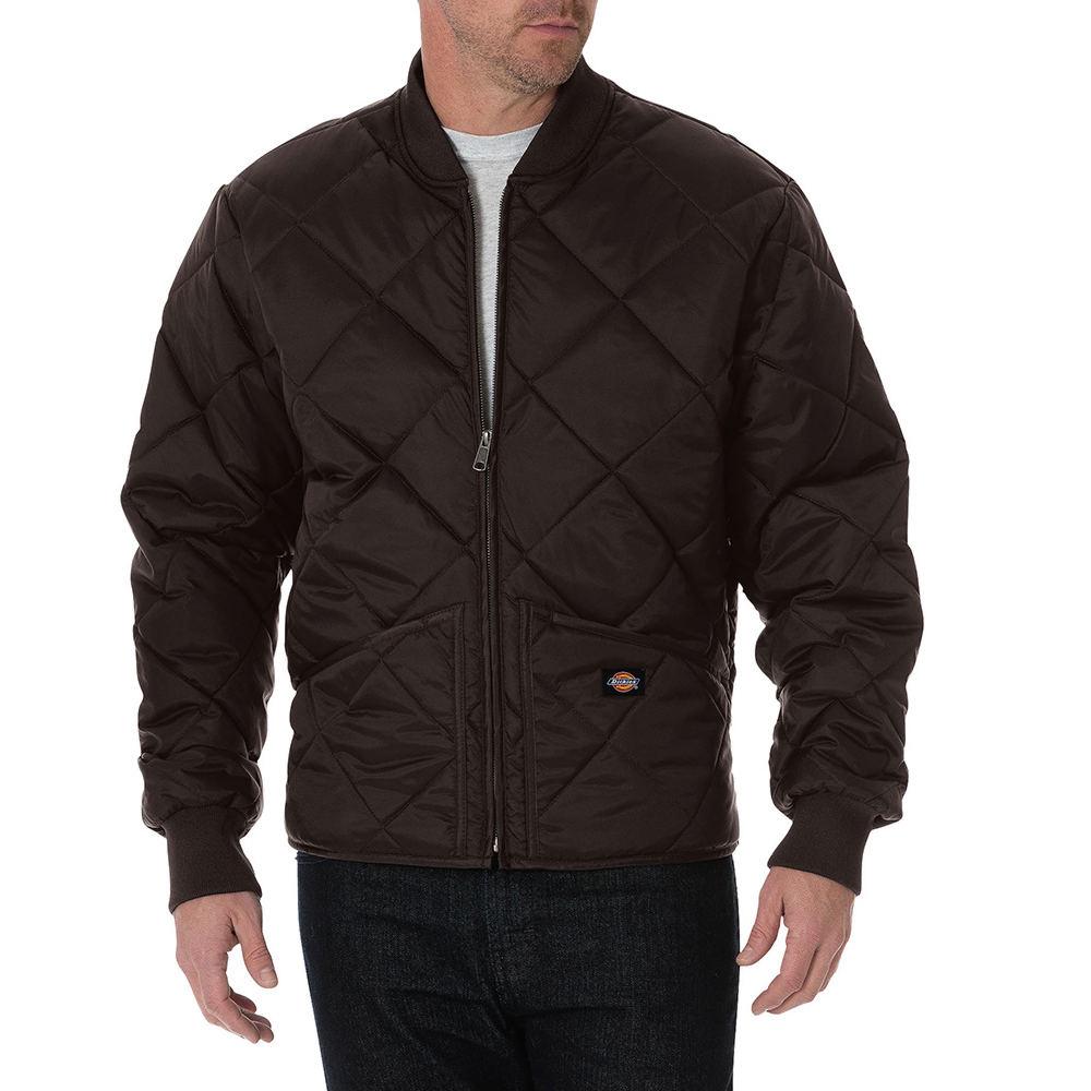 Dickies Men's Quilted Nylon Jacket Brown Jackets XL 712998BRNXL