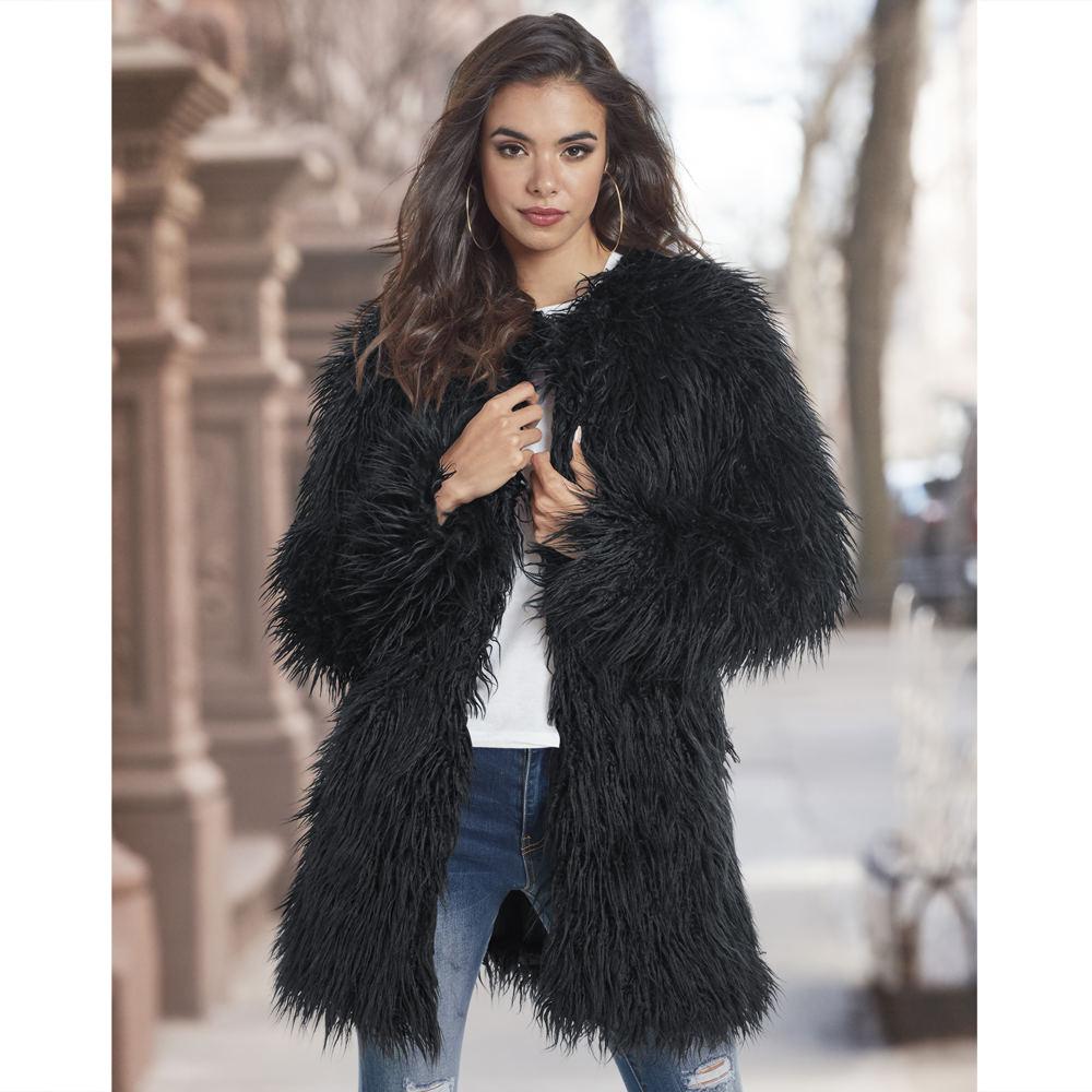 Shaggy Faux Fur Jacket Black Coats 2X