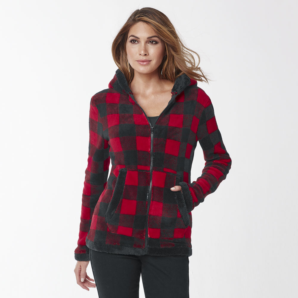 Women's Plaid Fleece Jacket Red Jackets 2X