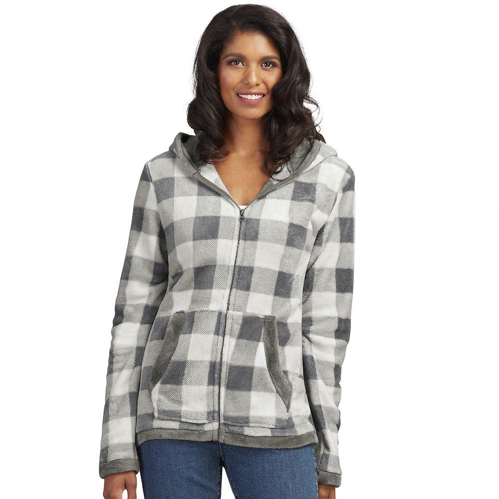 Women's Plaid Fleece Jacket Bone Jackets 2X