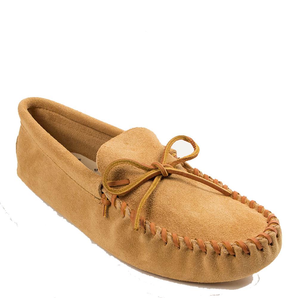 Minnetonka Leather Laced Softsole Men's Tan Slipper 9.5 M