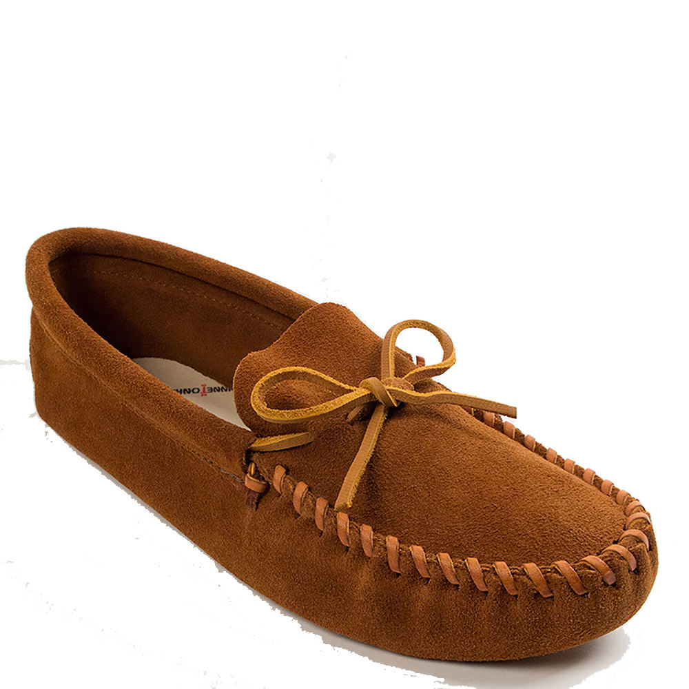 Minnetonka Leather Laced Softsole Men's Brown Slipper 10 M