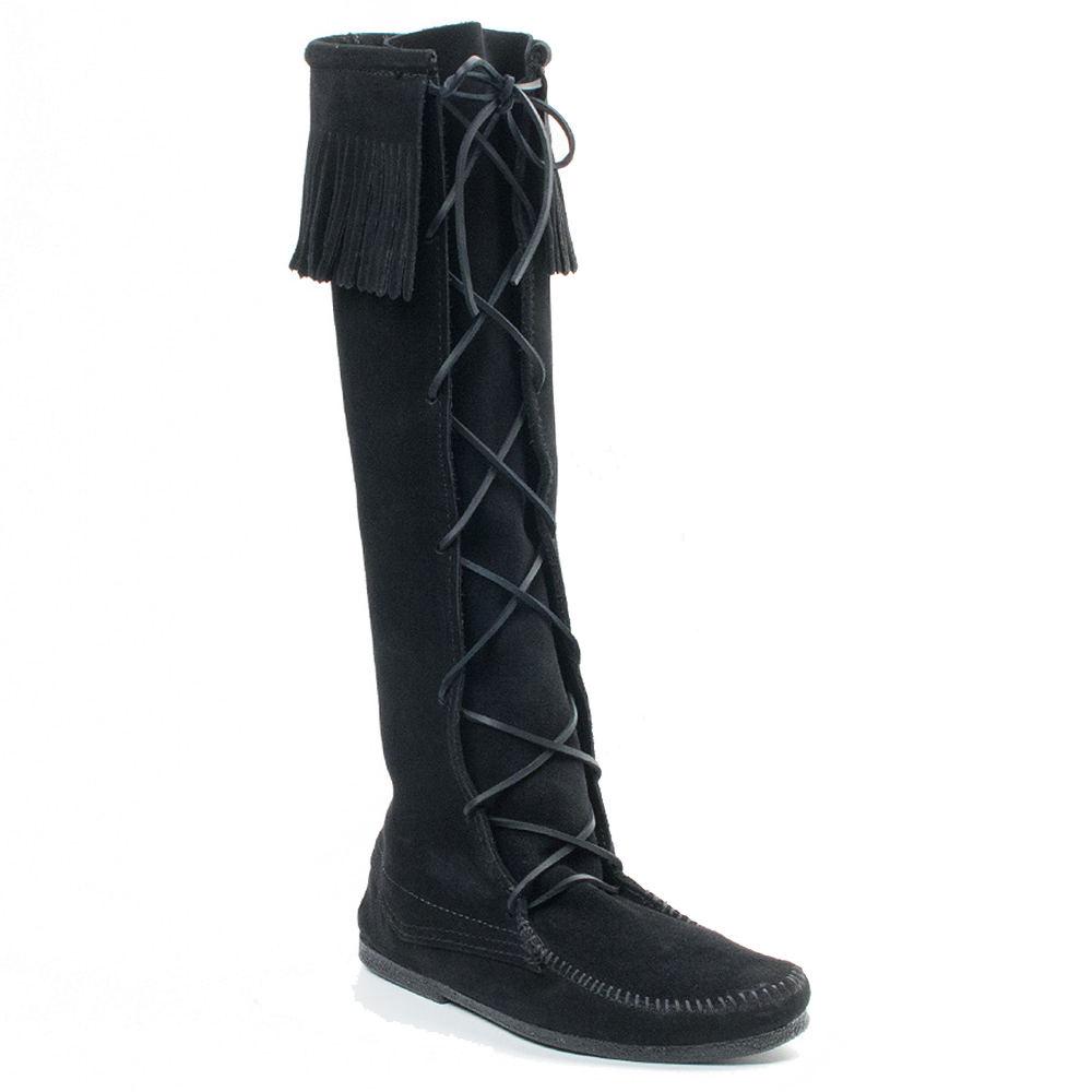 Minnetonka Front Lace Knee High Boot Men's Black Boot 11 M